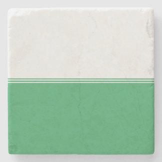 Modern Stripes Emerald Green Custom Stone Coaster