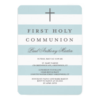 Modern Stripes First Communion Invitation Blue