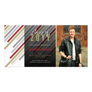 Modern Stripes Graduation Announcement Photo Card
