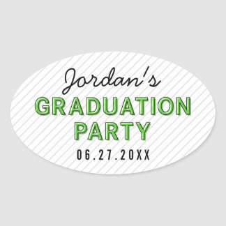 Modern Stripes Green Graduation Party Oval Sticker