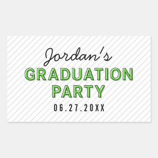 Modern Stripes Green Graduation Party Rectangular Sticker