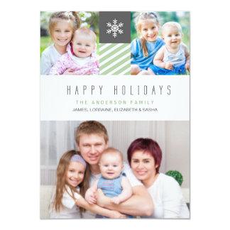 Modern Stripes Happy Holidays Photo Flat Cards 11 Cm X 16 Cm Invitation Card