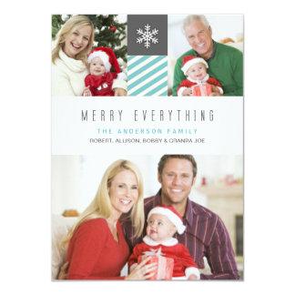 Modern Stripes Merry Everything Holiday Photo Card 11 Cm X 16 Cm Invitation Card