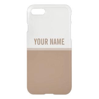 Modern Stripes Mocha Brown Custom Name iPhone 7 Case