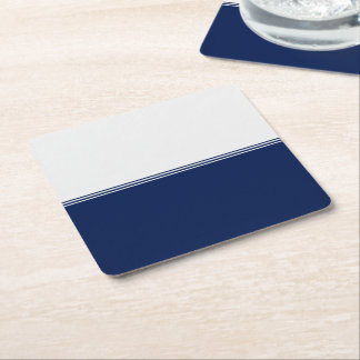 Modern Stripes Navy Blue Custom Square Paper Coaster