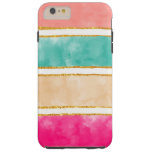 Modern Stripes Pink Red Watercolor Gold Glitter