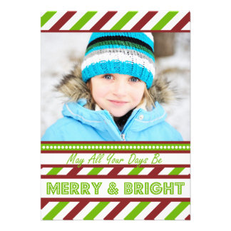 Modern Stripes Red and Green Christmas Flat Card