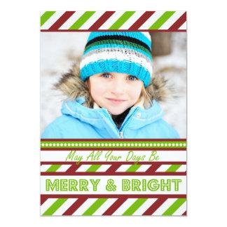 Modern Stripes Red and Green Christmas Flat Card 13 Cm X 18 Cm Invitation Card