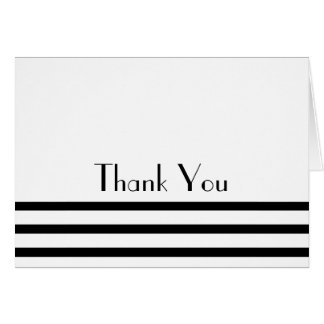 Modern Stripes Thank You Note Cards (Black)