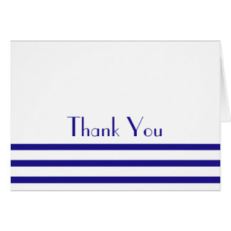 Modern Stripes Thank You Note Cards (Navy Blue)