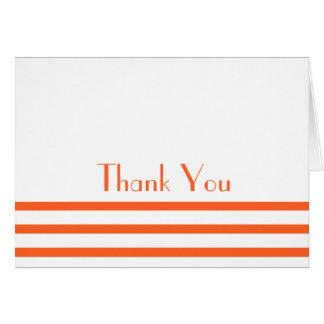 Modern Stripes Thank You Note Cards (Orange)
