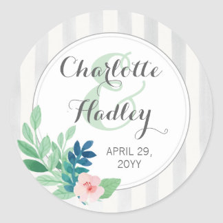 Modern Stripes Wedding Watercolor Bohemian Custom Classic Round Sticker