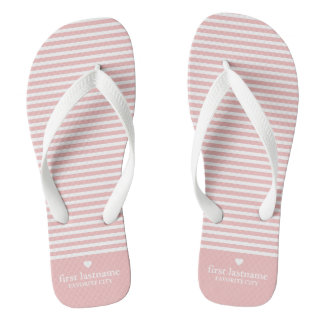 Modern Stripes with Upscale Heart Monogram Flip Flops