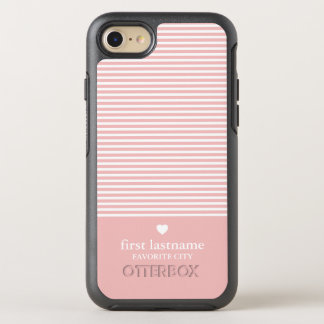 Modern Stripes with Upscale Heart Monogram OtterBox Symmetry iPhone 8/7 Case