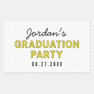 Modern Stripes Yellow Graduation Party Rectangular Sticker