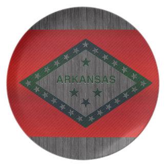 Modern Stripped Arkansan flag Dinner Plate