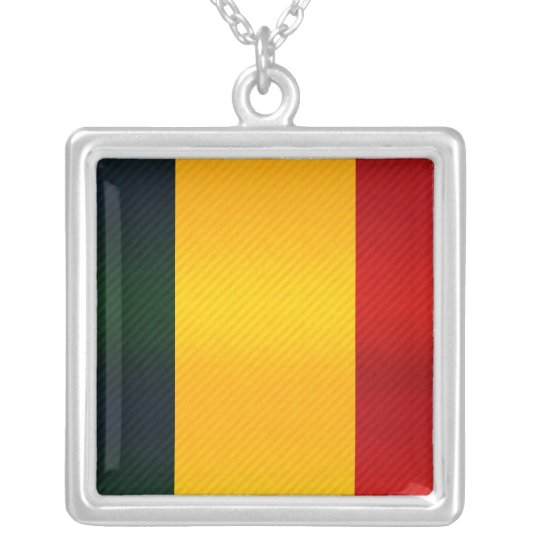 Modern Stripped Chadian flag Silver Plated Necklace