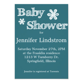 Modern style Blue Baby Shower Invitations