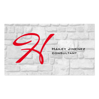 Modern Style Wall Stones Red Monogram Professional Pack Of Standard Business Cards