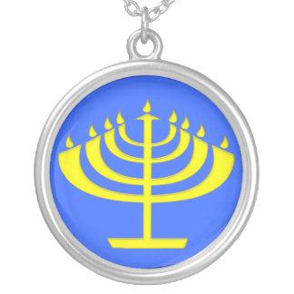 Modern Stylised Menorah for Chanukah Round Pendant Necklace