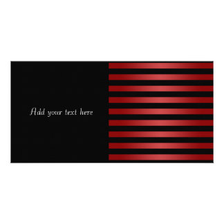 Modern Stylish Black and Red Stripes Pattern Picture Card