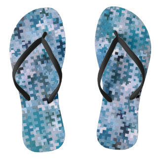Modern Stylish Blue Pattern Flip Flops