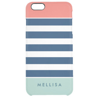 Modern Stylish Coral Mint Navy White Stripes Clear iPhone 6 Plus Case