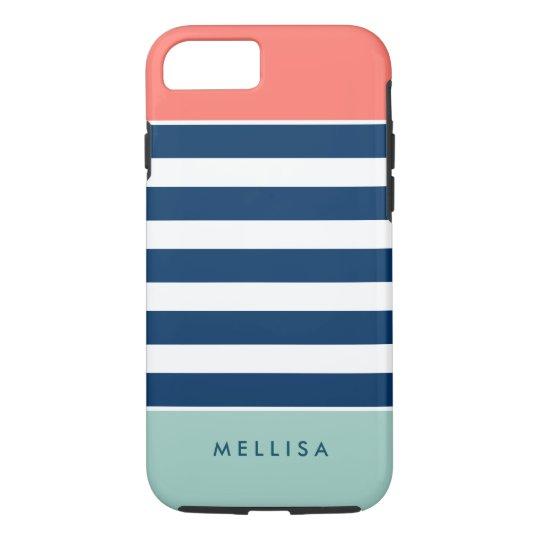 Modern Stylish Coral Mint Navy White Stripes iPhone