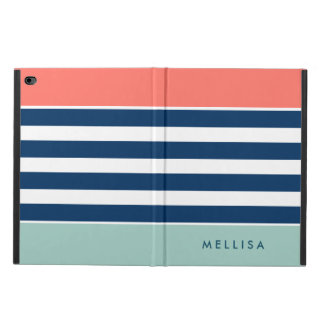 Modern Stylish Coral Mint Navy White Stripes Powis iPad Air 2 Case