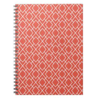 Modern Stylish Coral Pink Diamond Pattern Spiral Notebooks