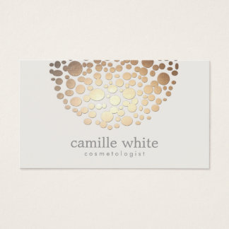 Modern Stylish Cosmetology Faux Gold Circles Business Card