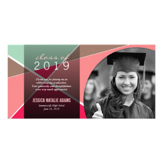 Modern Stylish Criss Cross Graduation Thank You Custom Photo Card