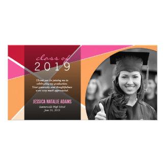 Modern Stylish Criss Cross Graduation Thank You Customized Photo Card