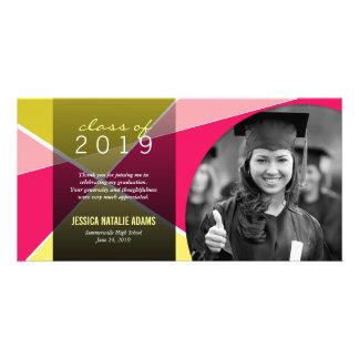 Modern Stylish Criss Cross Graduation Thank You Customised Photo Card