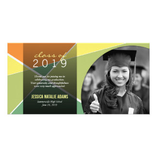 Modern Stylish Criss Cross Graduation Thank You Picture Card