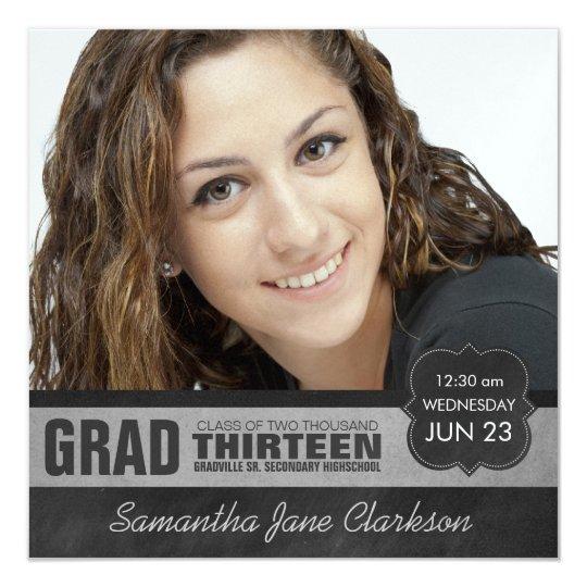 Modern Stylish Girl Graduate Photo Chalkboard Card