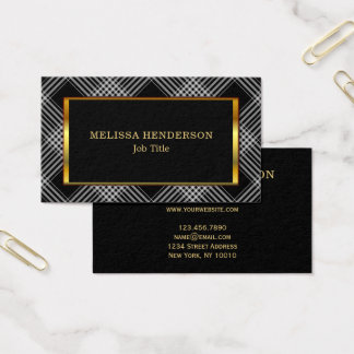 Modern stylish Gold frame black checkered pattern Business Card