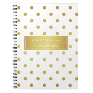 Modern Stylish Gold Glitter Polka Dots Notebook