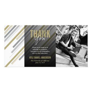 Modern Stylish Gold Stripes Graduation Thank You Customized Photo Card