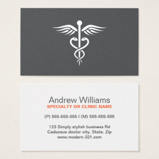 Modern stylish gray medical doctor caduceus business card
