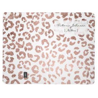 Modern stylish hand drawn rose gold leopard print journal