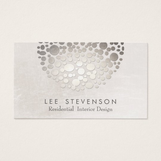 Modern Stylish Interior Designer Silver and Grey Business Card
