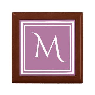 Modern Stylish Mauve Custom Monogram Small Square Gift Box