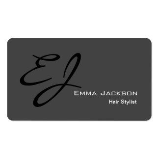 Modern Stylish Monogram Grey Hair Stylist Pack Of Standard Business Cards