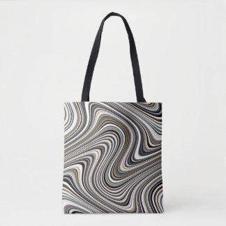 Modern Stylish Multicolor Curvy Lines Tote Bag