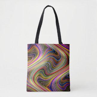 Modern Stylish Multicolor Curvy Neon Lines Tote Bag
