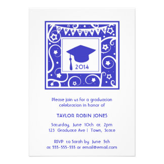 Modern Stylish navy blue graduation invitation