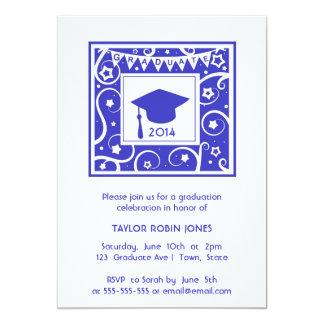 Modern & Stylish navy blue graduation invitation