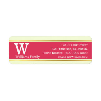 modern & stylish, pastel red, monogrammed return address label