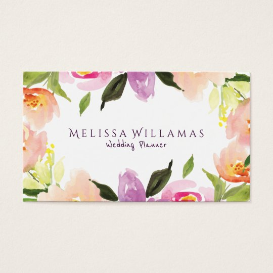 Modern Stylish Pastel Watercolors Flowers Wedding Business Card